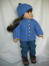 "18"" Doll Knitting Pattern American Girl All-over Cable Raglan Sweater + Headgear"