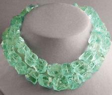 Pale Green Lime Ice Cube Gem QUARTZ STATEMENT NECKLACE ROUGH BIG Jewelry USA
