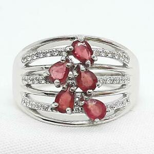 1.00ctw Mozambique Ruby & Diamond Cut White Sapphire 925 Silver Ring Size 7 3.1g