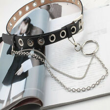 Women Girls PU leather Belt Punk Rock Black Metal Hole Waist Belt With Chain