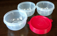 Tupperware Snack Bowls Ideal Storage 3 pc Set Clear Containers w/ Red Seals New