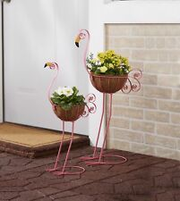 Bird Planters - Metal Decorative Outdoor Planters for Flower Gardens - Two
