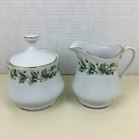 Pearl Noel Sugar and Creamer Fine China Set 3 piece White Gold Trim Holy Berry