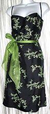 EUC *MICHELLE ANTONELLI*  Blk/Grn Floral Embroidery Strapless Dress,100% Silk,10
