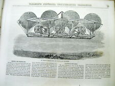 1852 illustrated newspaper w engraving AVIATOR Early Aviation FLYING AIR MACHINE