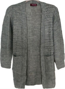 Womens Ladies Cable Chunky Knit Long Sleeve Open Front Pocket Cardigan Black