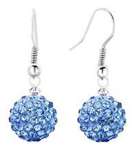Shamballa Ball DROP DANGLE Earrings 10mm Pave Crystal Silver Hook