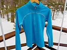 NEW Salomon Ski Snowboard Women's Ladies M Blue 1/2 Zip Waffle Base Layer Shirt
