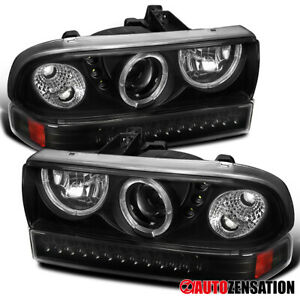 For 1998-2004 Chevy S10 Blazer Black Halo Projector Headlights+LED Bumper Lamps