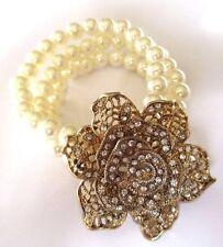 bracelet bijou vintage couleur or rose cristal diamant perle blanche 3 rangs 188
