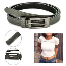 Grey Ladies Belt Women Skinny Thin Belts Leather Adjustable Waist Dresses