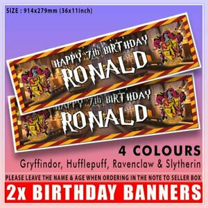 """2 PERSONALISED HARRY POTTER HOGWARTS 36"""" x 11"""" BIRTHDAY BANNERS ANY NAME & AGE"""