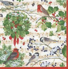 Invierno Pájaro Cantando La Navidad Caspari papel cuadro almuerzo Servilletas 20 En Pack