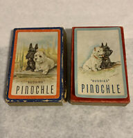 Vintage Scottie Dog Buddies Pinochle Cards 2 Decks 48 Cards Each Orange Blue