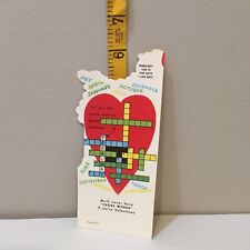 Vtg Valentine Card 60s 70s Crossword Puzzle We'll Never Have Cross Words Unused
