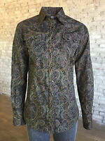 Rockmount Womens Brown 100% Cotton Paisley Print Western L/S Shirt