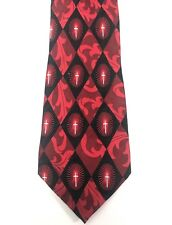 Christian Cross Neck Tie Red Black Silk Divinity Boutique Series Romans 6:23