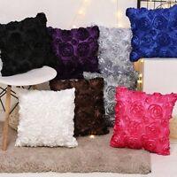 Satin Rose Flower Floral Cushion Cover Throw Pillow Case Sofa Home Decor Black