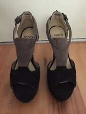 Black and Grey Suede Wedges Novo Size 5 Worn once Good Condition