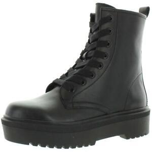 Aqua Womens Logan Black Leather Combat Boots Shoes 8 Medium (B,M) BHFO 5665