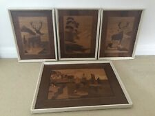 RARE VINTAGE MARQUETRY INLAID WOOD ART WALL HANGING PICTURES, SET OF 4