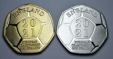 More details for pair european football championship 2020 2021 dual date commemoratives england