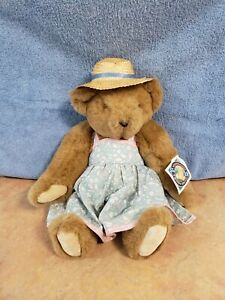 Vintage The Vermont Teddy Bear Company Jointed Teddy Bear Flower Dress Straw Hat