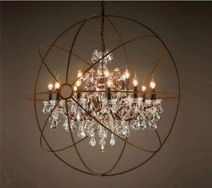 Foucault's Orb Clear K9 Crystal Chandelier Rustic Iron Globe Ceiling Lamp Light