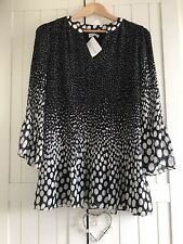 Together Polka Dot Pleated Blouse- Size 14 (New With Tags) - Black/White