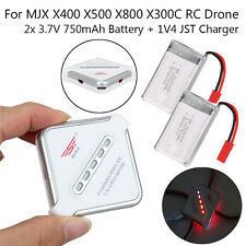 2x 750mAh 3.7V 25C Battery + JST 4in1 Charger For MJX X300C X500 RC Quadcopter