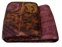 Vintage Pink Sari Abstract Printed Pure Silk Dress Indian Saree Fabric Sarong