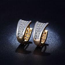 Women 18k Gold Plated CZ Jewelry AAA Zircon Hollow Hoop Earrings Free Shipping