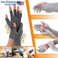 2 Pcs Copper Arthritis Compression Gloves Hands Support Joint Pain Relief Brace