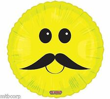 Yellow Smiley Stach Face Mr MOUSTACHE mustache Birthday Party Balloon