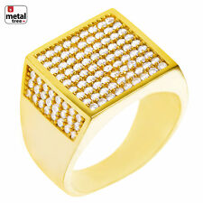 Cz Band Flat Square Men's Pinky Rings Hip Hop Fashion 14k Gold Plated Hand Set