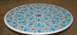 Turquoise Stone Inlaid Dining Table Top Round Marble Reception Table 42 Inches