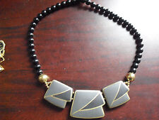 Plastic Black Beads Tile Pendant Japan Made Necklace LOOK