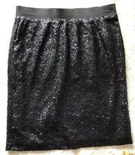 Splendid Black Sequin Skirt Elastic Waist Party Sparkle Small