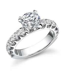 Gorgeous STARDUST Round Solitaire Semi Mount;18K White Gold G VS Any Size Center