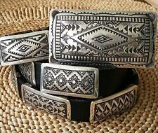 Auth Gorman STERLING SILVER Mens Mexico Concho Buckle Belt size 34 **RPP $6,000
