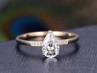 1ct Pear Cut VVS1 D Diamond Solitaire Engagement Ring 14k Yellow Gold Finish
