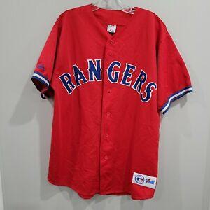 Rare VTG Majestic Texas Rangers Alternate Red Baseball Jersey Mens XL Sewn