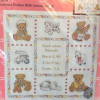 Janlynn Cherished Teddies Cross Stitch Kit Birth Announcement 13958 NOS Vintage