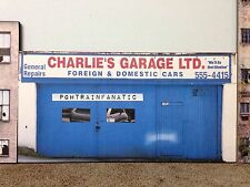 * O Scale Scratch Built Auto Repair Garage Building Front/Flat, MTH Lionel *