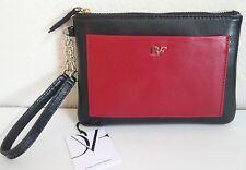 Diane von Furstenberg Voyage Wristlet Clutch Black Red Leather Top Zip NWT