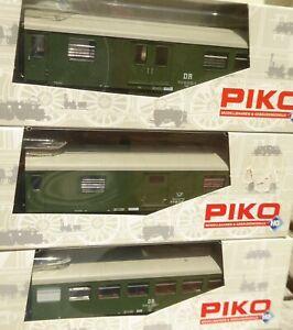 Piko H0 AC Set 3 x Rekowagen Bage der DR Epoche 4 sehr gut bis neuwertig in OVP