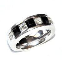 PIERRE LANG Bague rhodium argenté zirconium blanc et noir T 54 bijou ring
