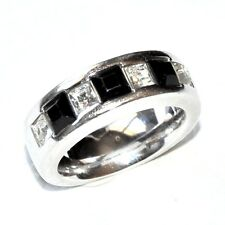 Pierre lang Ring Rhodium Silver Zirconium White/Black T 54 Jewel Ring