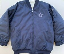 Dallas Cowboys Reversible Jacket Reebok Large Quilted Spellout Blue White Zip Up