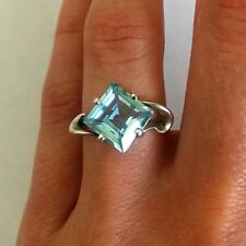 Vintage Blue Topaz 925 Sterling Silver Ring Wedding Gift Jewelry Size 7